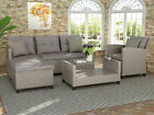4pc Outdoor Patio Garden Furniture Set Wicker Rattan Sectional Sofa With Cushion