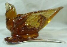 Boyd Bird w/Cherry Salt Dip Clove Glass Open Salt Cellar W/Salt Spoon 11/5/09
