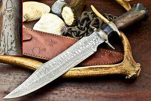 Custom Hand Made Damascus Blade Laser Etched Hunting Knife   Stained Camel Bone