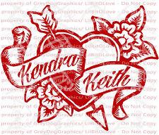 Custom Tattoo Heart & Flowers Vinyl Decal - YOUR NAMES Tattoo Scroll Sticker Car
