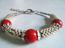 Beautiful Handmade Ethnic Silver Red Gemstone Women Bracelet Birthday Gift Wife