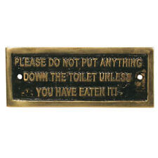 """""""DOWN THE TOILET"""" BRASS PLATE FOR CANAL BOAT, NARROW BOAT, BARGE,CRUISER"""