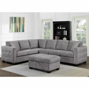 Thomasville Kylie Grey Fabric Corner Sofa  Storage Ottoman living room armchair