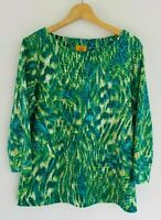 Ruby Rd. Women's Large 3/4 Sleeve Teal Green White Textured Abstract Knit Top