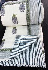 Indian Handmade Cotton Hand Filling Kantha Quilt Hand Block Print Jaipuri Razai