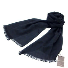 Gucci scarf G logos Black Woman Authentic Used Y132