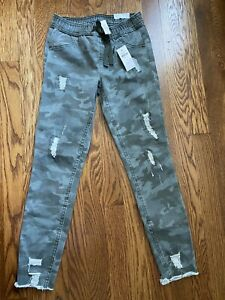 Justice Girls Mid Rise Camo Jeggings Jeans Distressed Size 10 New! NWT
