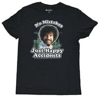 Bob Ross No Mistakes Just Happy Accidents Distressed Men's Black T-Shirt New