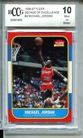 1986 Fleer Basketball Michael Jordan Rookie Card Replicate BCCG 10 '96 Decade