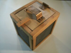 Hand Made Wood Cricket Fishing Box Double Layered Wire With Handle Light Brown