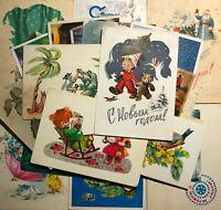 1950-80s Vintage Postcards Different Russians Greeting Cards  Lot 24 pcs