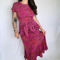 Vintage Pink Floral Carole Little 80s 50s Peplum Waist Mermaid Dress 6 Small S
