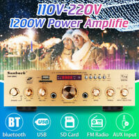 Pro 1200W bluetooth Power Amplifier AMP Hi-Fi Home Stereo FM Radio SD USB AUX
