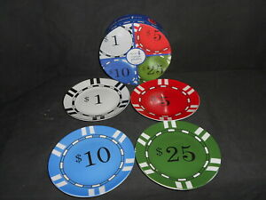 """Set Of 4 """"Poker Chips"""" Canape Plates 6"""" Diameter ~ White Red Blue Green"""