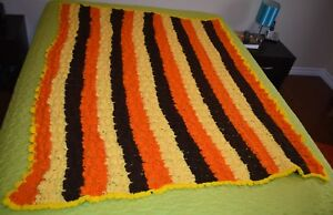 VTG Handmade Knit AFGHAN Throw 50 x 66 Classic 1970's Look Orange Yellow Brown