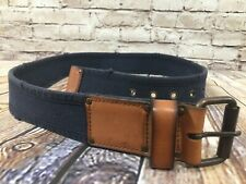 New Blue Cotton Leather Tab Casual Belt Size 36