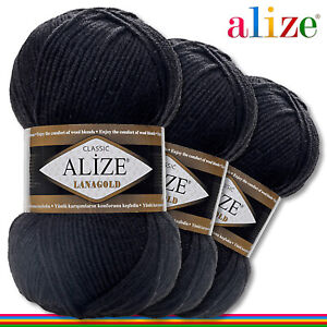 Alize 3x 100G Lanagold Premium Lana 49% Wolle-51% Acrílico Negro 60 Hecho Mano