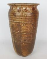 Vintage Mid Century Brown Speckled Glazed Signed Art Pottery Heavy Vase - 11""