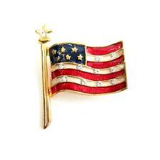Patriotic American Flag Gold Tone Pin Brooch Vintage Enamel Rhinestone Jewelry