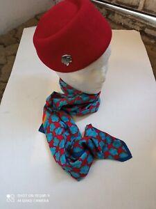 Original Aeroméxico stewardess hat bonnet & scarf former uniform wit badge. S