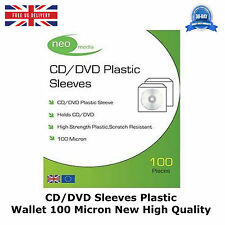CD/DVD Sleeves Plastic Wallet 100 Micron New High Quality Neo Media 100 Per Pack