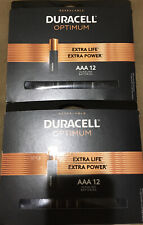 DURACELL OPTIMUM EXTRA LIFE EXTRA POWER  AAA  ALKALINE BATTERIES 2PKS OF 12  =24