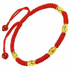 24k Yellow Gold Beads Best Gift Lucky Red Knitted Chain Bracelet