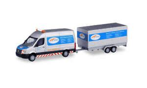 Herpa 095068 VW Crafter Boîte Toit Surélevé Avec Tandem-Koffer-Anhänger, 1:87 (
