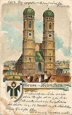 Litho-Karte Gruss aus München, Frauenkirche  3/1/15