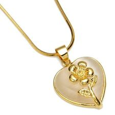 "Flower Necklace 18k Yellow Gold Filled Heart Pendant white opal 18"" Charms Chain"