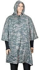 AT Digital Camo EMERGENCY PONCHO Ripstop Waterproof Rain Cape One Size Fits All