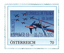 "1 Perso stamp AUSTRIA ""AIRPOWER - 60 years Patrouille de France / ALPHAJET"" 2013"
