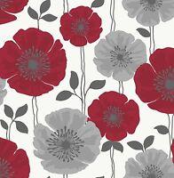Fine Decor - FD14866 - Poppie Floral Wallpaper - Red / Silver / Black / White