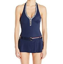 Tommy Hilfiger Swimdress Sz 6 Core Navy Multi Halter One Piece Swimsuit TH46205