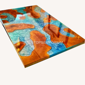 Custom Made Solid Wood Epoxy Resin Live Edge Center Dining Table Top Home Decor