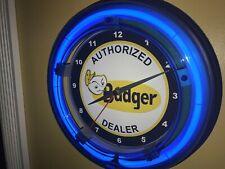 Badger Lawnmower Dealer Landscaper Garage Man Cave Blue Neon Wall Clock Sign