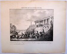 Lithographie, XIXe,Napoléon, Rupture de la digue du Nil