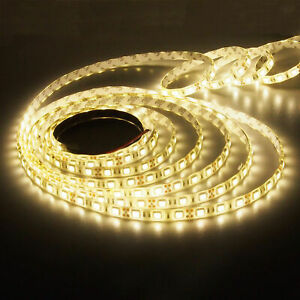 5M 300LEDs 5050 SMD Flexible LED Streifen Stripes Band Warmweiß wasserdicht 12V