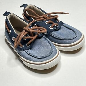 Old Navy Chambray Casual Boat Shoe Lace Up Toddler Size 7 Blue Easter