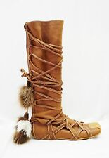 CHRISTIAN DIOR 38 8 CARAMEL SUEDE FUR TIE WRAP AROUND MUKLUK ESKIMO BOOTS BROWN