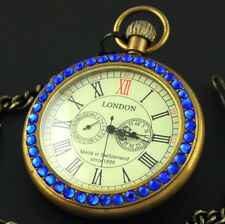Luxury Antique 1856 Style Copper Blue Diamond 2 Sub-Dial Mechanical Pocket Watch