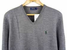 NEW MENS 100% GENUINE RALPH LAUREN MERINO WOOL V-NECK JUMPER GREY XL RRP £110