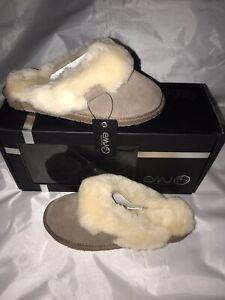 New EMU Australia Jolie Suede Sheepskin Clog Slippers Women Mushroom MSRP $69.99