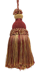 "Burgundy Red Gold 5"" Decorative Key Tassel Royal Romance [Invidual]"