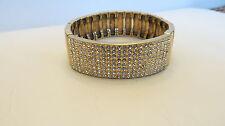 RJ Graziano Antique Goldtone Crystal Pave Stretch Bracelet SML/MED 381255