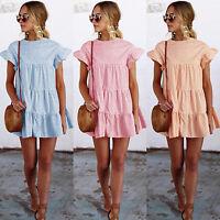 Women Summer Ruffles Short Mini Dress Casual Party Tunic Sundress Beachwear