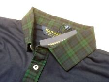 Polo Ralph Lauren Cotton Blend Navy Polo Shirt Blackwatch Trim NWT Medium $98.50