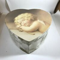Heart Shaped Cardboard Box Angel Print