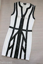 NWT Bebe white black colorblock crystal logo zip front top dress S small party 4