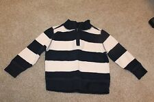 Toddler Boy Old Navy 1/4 zip pullover sweater striped blue white 18-24